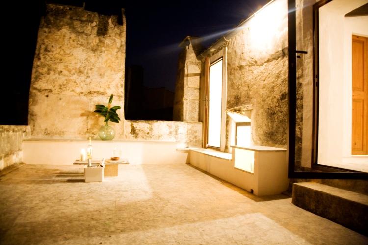 Top floor terrace by night